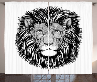 Wild Hipster Lion Glasses Curtain
