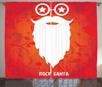Rock Santa Claus Xmas Curtain