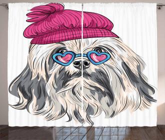 Lowchen Dog Glasses Hat Curtain