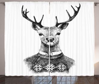 Deer Nordic Sweater Xmas Curtain