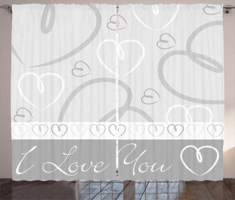 Cute Doodle Hearts Love Curtain