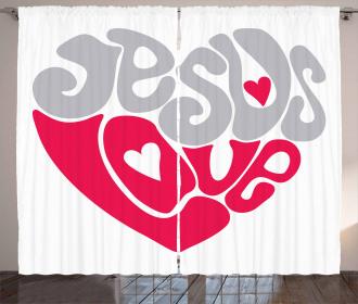 Retro Love Heart Curtain