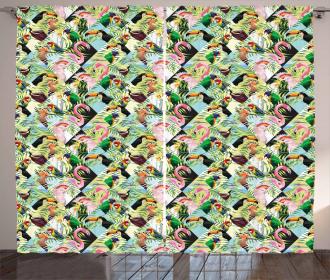 Tropical Jungle Parrots Curtain