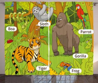Jungle Fauna Zoo Curtain