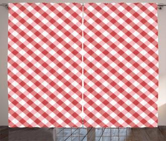 Retro Red Squares Curtain