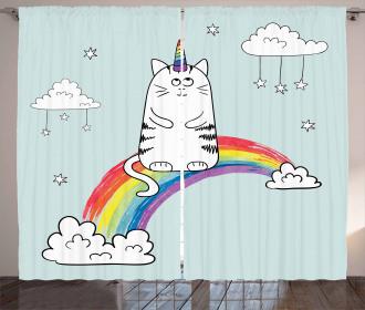 Rainbow Quote Art Curtain