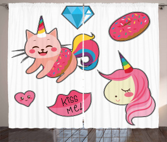 Cute Fantasy Icons Curtain