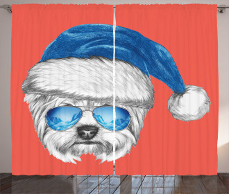 Blue Santa Hat Funny Curtain