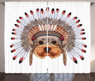 Bonnet Wearing Dog Curtain