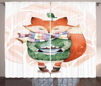 Cute Fox Coffee Bird Curtain