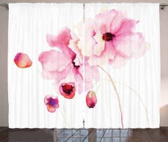 Pink Flower Petals Curtain