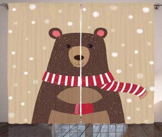 Cute Bear Red Scarf Curtain