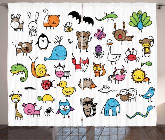 Cartoon Nursery Animals Curtain
