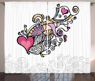 Flying Heart Waving Love Curtain