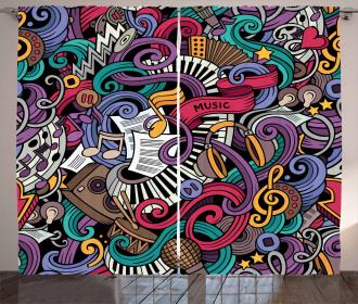 Music Theme Instruments Curtain