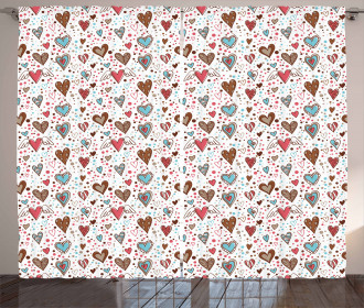 Various Shaped Hearts Curtain