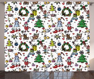 Christmas Cartoon Curtain