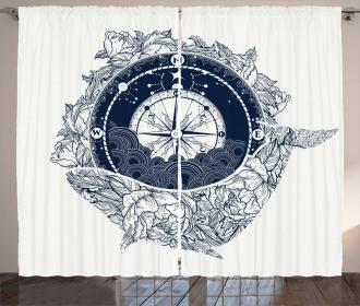 Antique Sea Compass Curtain