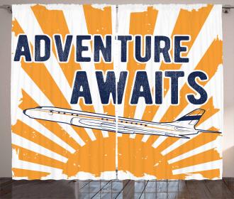 Airplane Sun Journey Curtain