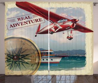Coastline Red Plane Curtain