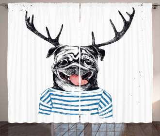 Dog with Antlers Surreal Curtain