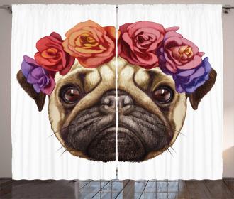 Floral Head Wreath Fun Curtain