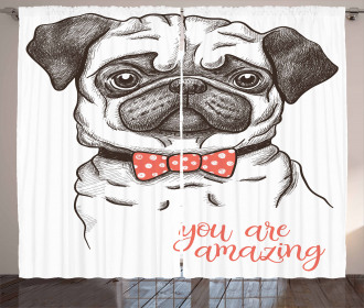 Portrait of a Dog Cartoon Curtain
