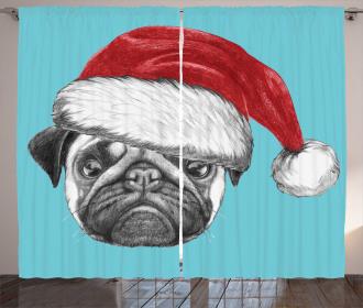 Dog with Santa Hat X-Mas Curtain