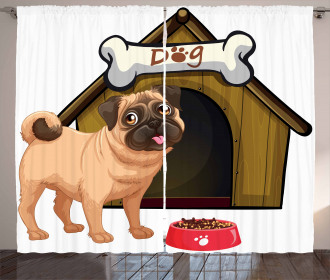 Dog House Cartoon Style Curtain