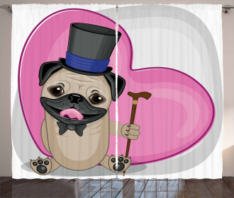 Funny Dog with Top Hat Curtain