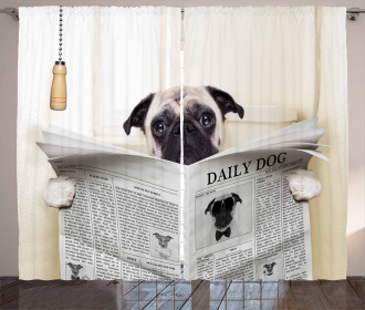 Puppy Reading Newspaper Curtain