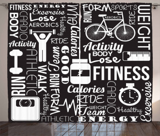 Active Life Quote Icons Curtain