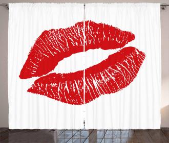 Red Lips Kiss Mark Grunge Curtain