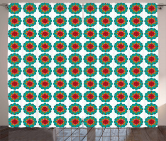 Vibrant Flower Ethnic Curtain
