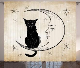 Black Cat Siting on Moon Curtain