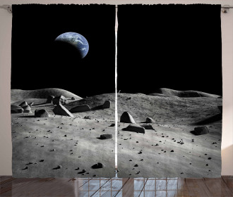 Earth Seen from the Moon Curtain