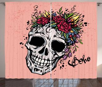 Skull Boho Floral Wreath Curtain