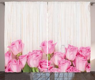 Flowers on Wood Planks Curtain