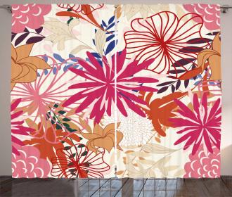 Vivid Floral Arrangement Curtain