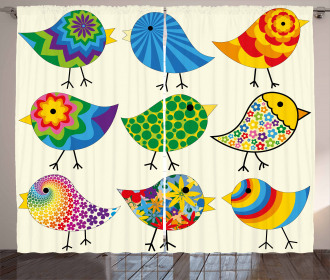 Colorful Funky Birds Curtain