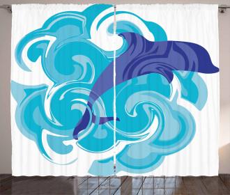 Waves Aqua Life Nature Curtain