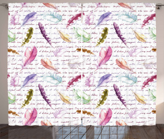 Colorful Romantic Text Curtain