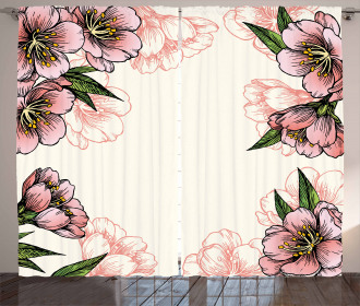 Botanical Spring Flowers Curtain