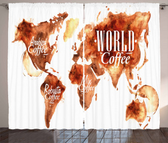 Continents World Map Curtain