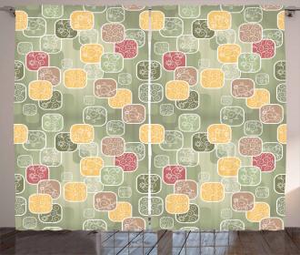 Geometric Squares Swirls Curtain