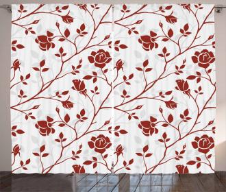 Monochrome Rose Leaves Curtain