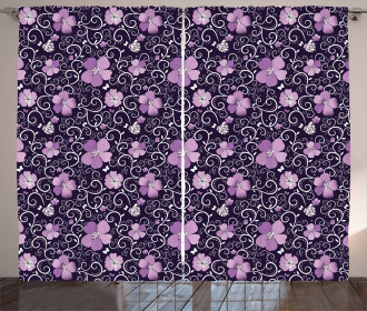 Flower Patterned Design Curtain
