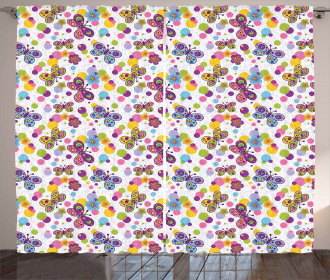 Vibrant Flora Dots Curtain