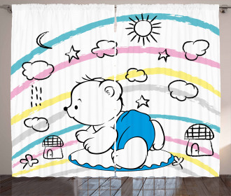 Cute Kids Themed Doodle Curtain