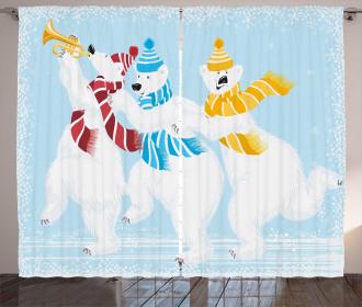 Xmas at North Pole Funny Curtain
